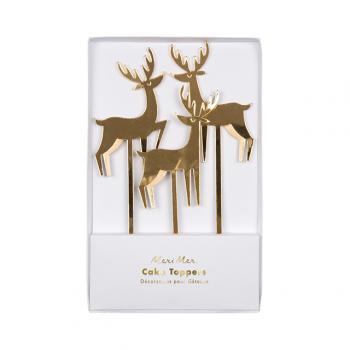 Gold Acrylic Reindeer Cake Toppers (3u.)