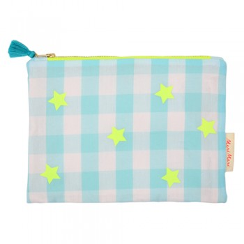 Blue And Neon Ginham Pouch