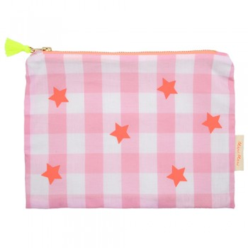Pink And Neon Ginham Pouch