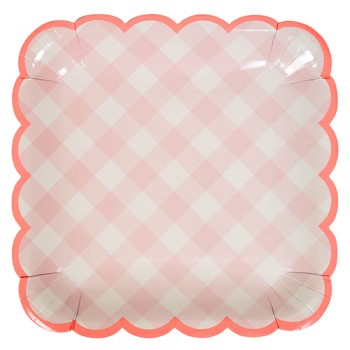 Pink Gingham large plate (12u.)