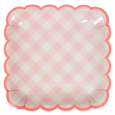 Pink Gingham large plate (12u.)