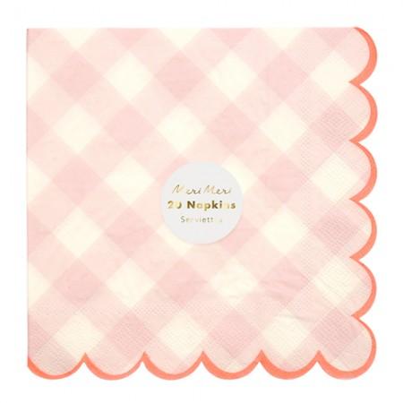 Pink Gingham Large Napkin (20u.)