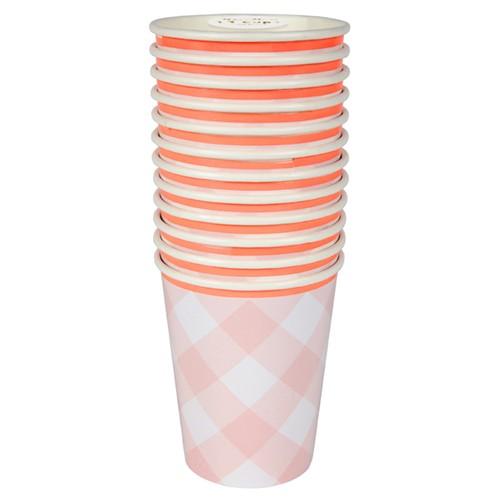 Pink Gingham Cup (12u.)