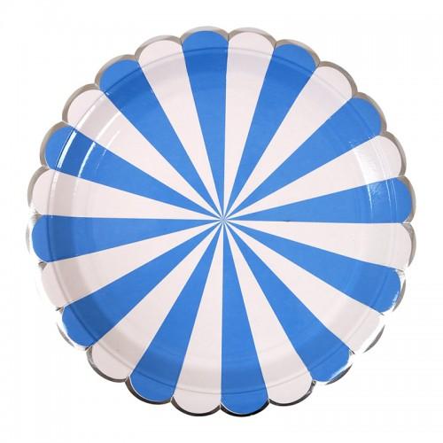 Plato Grande Rayas Azules (8u.)
