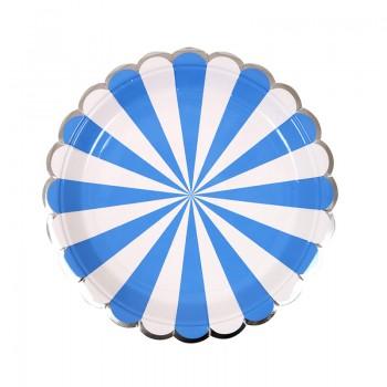 Plato Pequeño Rayas Azules (8u.)