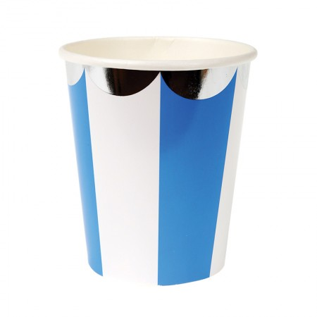 Vasos Rayas Azules (8u.)