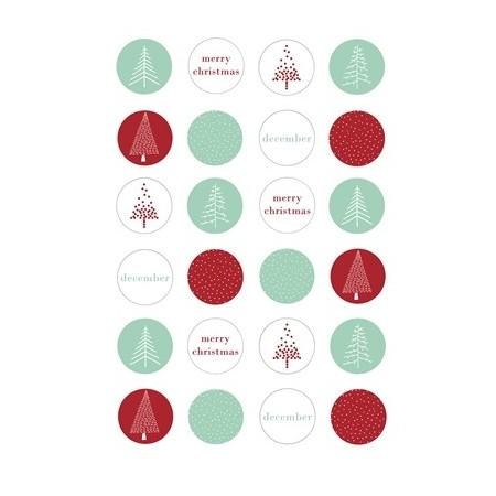 Etiquetas Navidad verde/rojo
