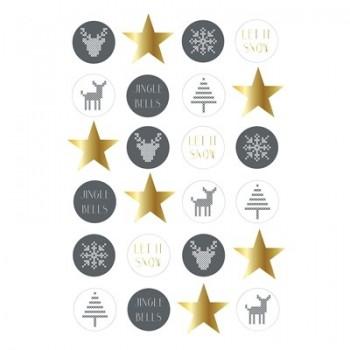 Etiquetas Navidad gris/dorado