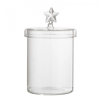 Jar w/Lid, Clear, Glass