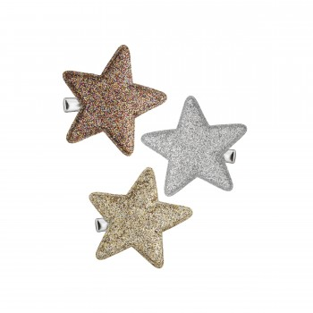 Glitter superstar salon clips Metalic (3u.)