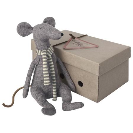 Ratón, bufanda rayas azul, en caja
