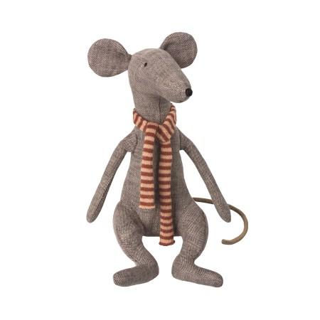 Ratón, bufanda rayas rojas, en caja