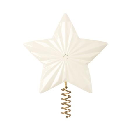 Estrella para el árbol de Navidad, metal - Blanca