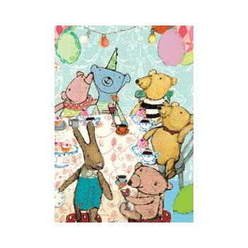 Blue Teddy Bear party Postcard