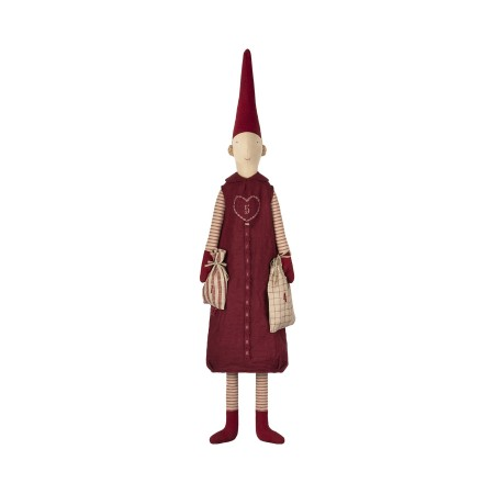 Duende chica calendario de Adviento vestido rojo