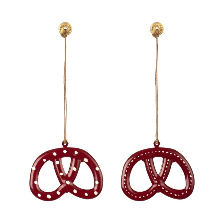 Pretzel, galleta decoración metal, rojo