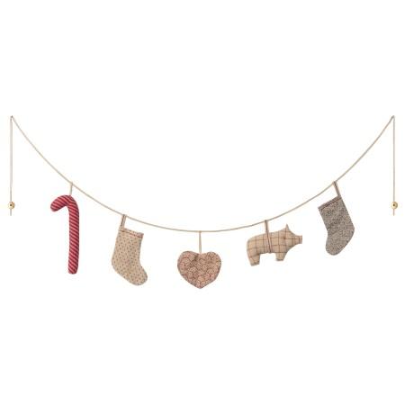 Guirnalda Navidad - 5 adornos - 110 cm