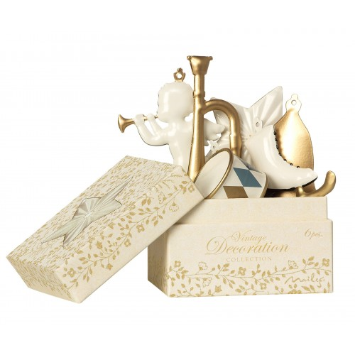 6 gold/white ornaments in box