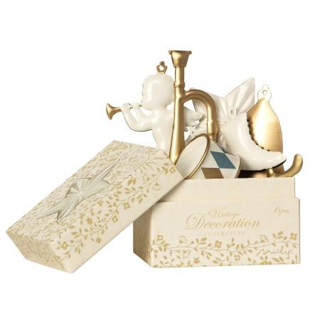Adornos navidad Blanco/oro en caja (6u.)