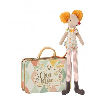 Stilt Clown mouse in suitcase