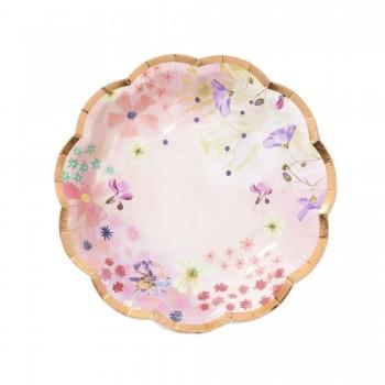 Plato de papel rosa (12u)