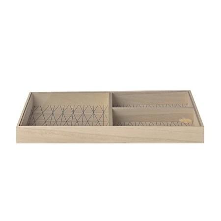 Caja de madera con separadores y tapa