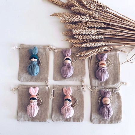 Necklace  Blond Hair Bunny Fleur - Rose Sack