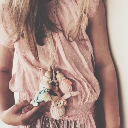 Necklace  Blond Hair Bunny Fleur - White Sack