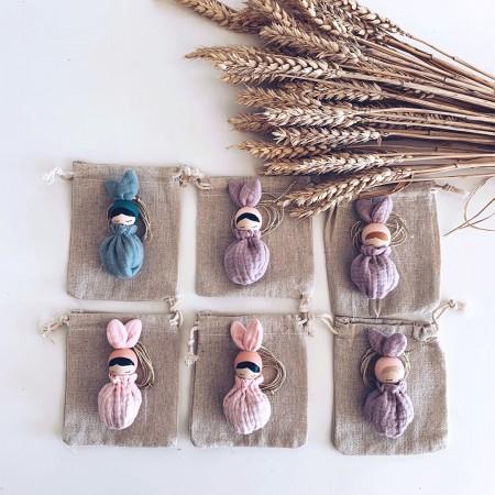 Necklace  Brown Hair Bunny Fleur - White Sack