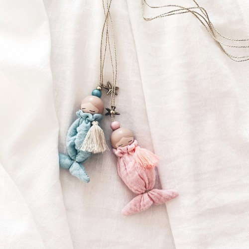 Necklace Blond Hair Mermaid - Pink Tail