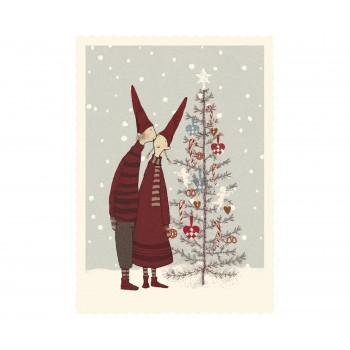 Tarjeta pareja de pixy, árbol de navidad