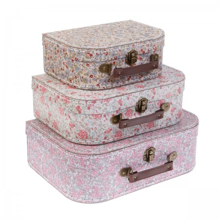 Maleta, cartón floral 3 piezas