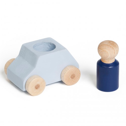 Grey wooden toy car