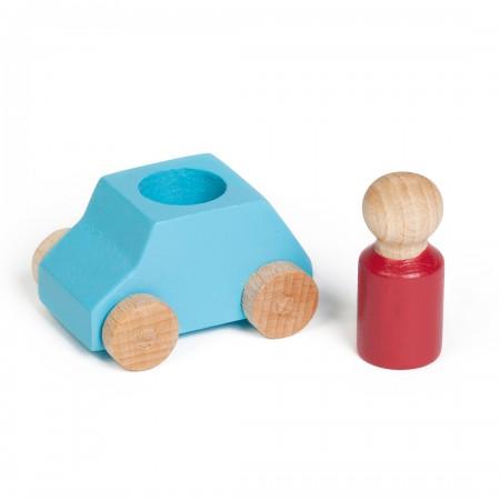 Coche de madera de color turquesa