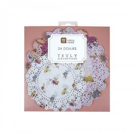 Blondas Doilies estampado floral (24u.)
