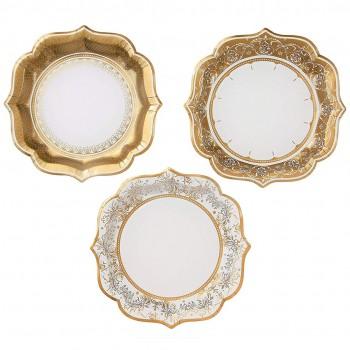 Plato dorado, 3 diseños ( 12 u).