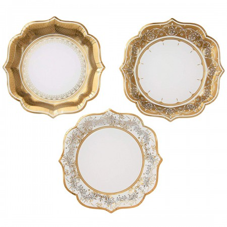 Porcelani party gold plate medium (12u)
