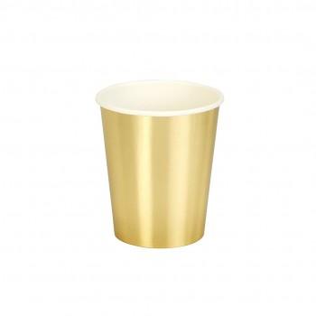 Vasos de papel, dorado  (8 u.)