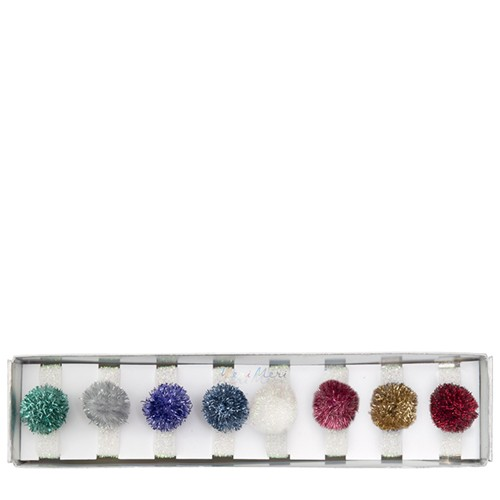 Tinsel Pompom Hair Ties (8u)