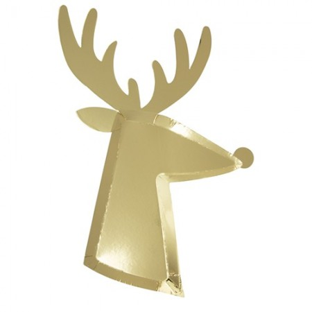 Gold Reindeer Plates  (8u)