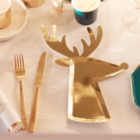 Gold Reindeer Napkins Small (16u)
