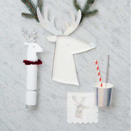 Silver Sparkle Reindeer Plates (8u)