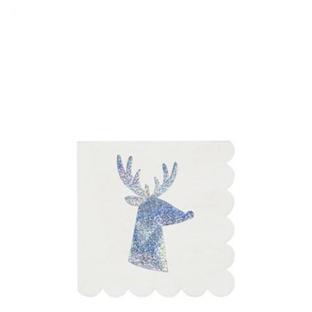 Silver Sparkle  Reindeer Napkins small (16u)