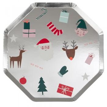 Platos de fiesta motivos navideños  (8u)