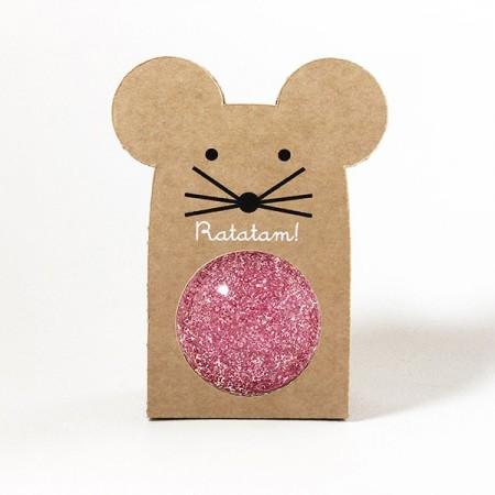 Pelota saltarina ratón purpurina  - Rosa