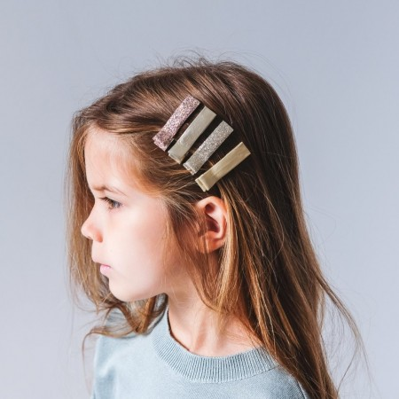 Shimmer Edie Clips Gold, Pack of 4
