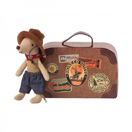 Cowboy Little Brother Mouse in suitcase