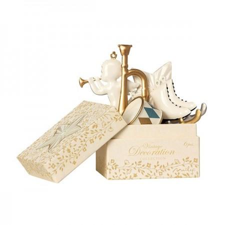 Metal Ornament Box 6 units - White/Gold