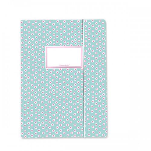 Carpeta Turquesa y Rosa con elástico - A4