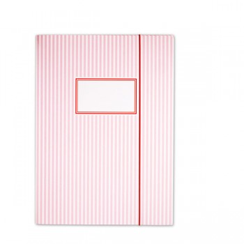 Elasticated Folder Stripes Pink - A4
